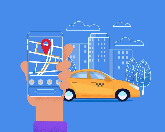 Serviço móvel da cidade taxi. layout urbano moderno.