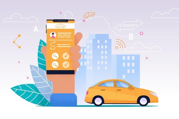 Serviço móvel de táxi. aplicativo plano smartphone.