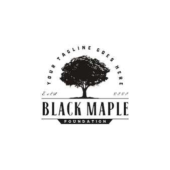 Serviço oak maple tree. design de logotipo vintage de paisagem residencial