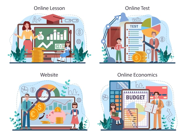 Serviço on-line de assunto de escola de economia ou conjunto de plataformas. estudante estudando
