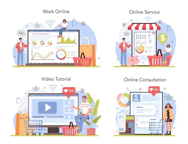 Serviço on-line de atividades comerciais ou conjunto de plataformas. avaliação do empreendedor
