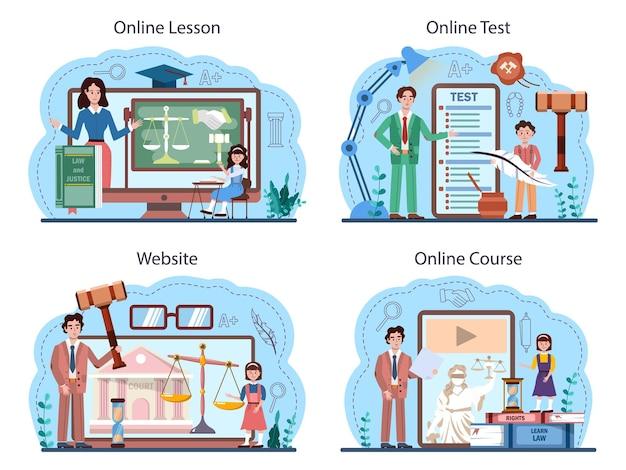 Serviço on-line de aula de direito ou conjunto de plataformas. educação de punição e julgamento