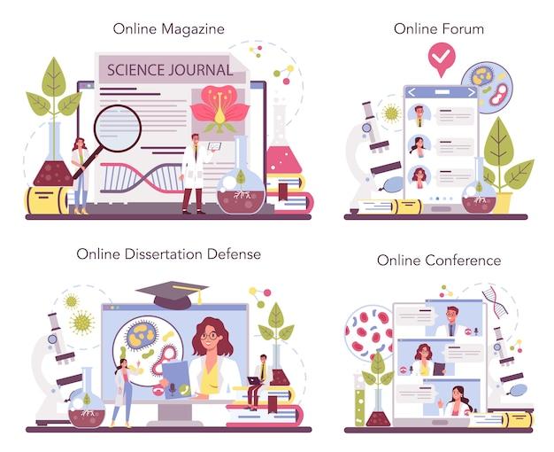 Serviço on-line de ciências biológicas ou conjunto de plataformas Vetor Premium