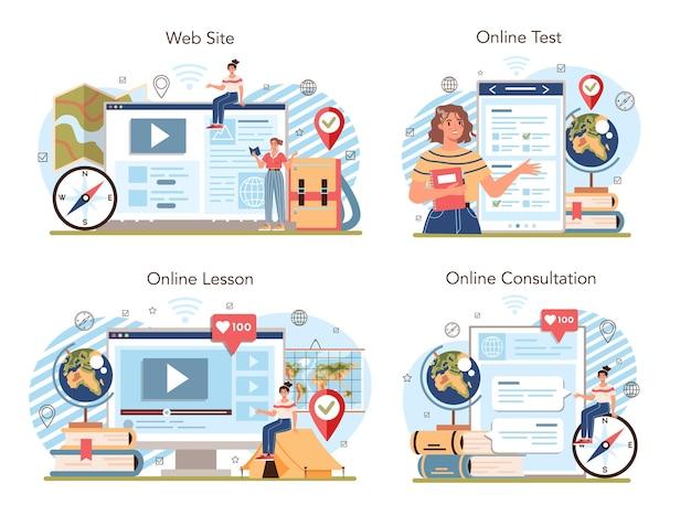 Serviço on-line de classe de geografia ou conjunto de plataformas. ilustração vetorial isolada