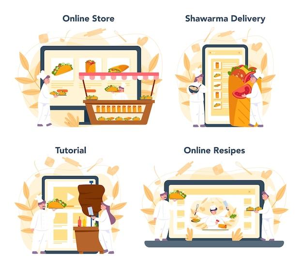 Serviço on-line de comida de rua shawarma ou conjunto de plataformas. café kebab de fast food. loja online, entrega, receita ou tutorial em vídeo. ilustração vetorial no estilo cartoon