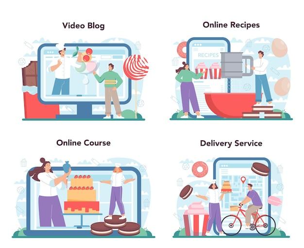 Serviço on-line de confeiteiro ou conjunto de plataforma chef de confeitaria profissional