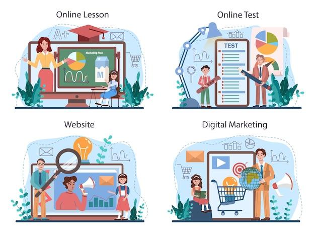 Serviço on-line de curso escolar de educação de marketing ou conjunto de plataforma. aula de promoção de negócios e comunicação com o cliente. aula online, teste, marketing digital, site. ilustração vetorial plana