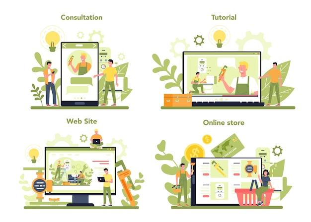 Serviço on-line de encanamento ou plataforma em conjunto de conceito de dispositivo diferente