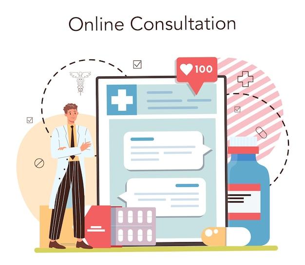 Serviço on-line de farmácia ou farmacêutico de plataforma que vende medicamentos