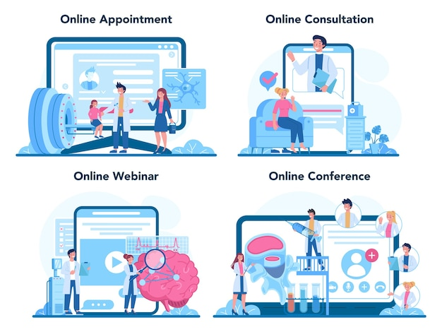 Serviço on-line de neurologista ou conjunto de plataformas.
