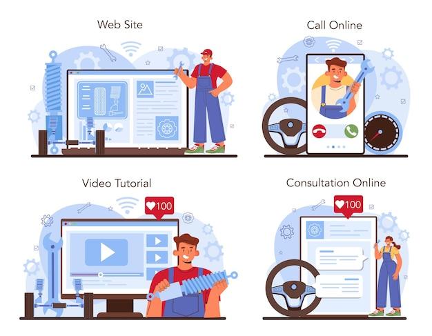 Serviço on-line de serviço de conserto de automóveis ou verificação mecânica de conjunto de plataforma