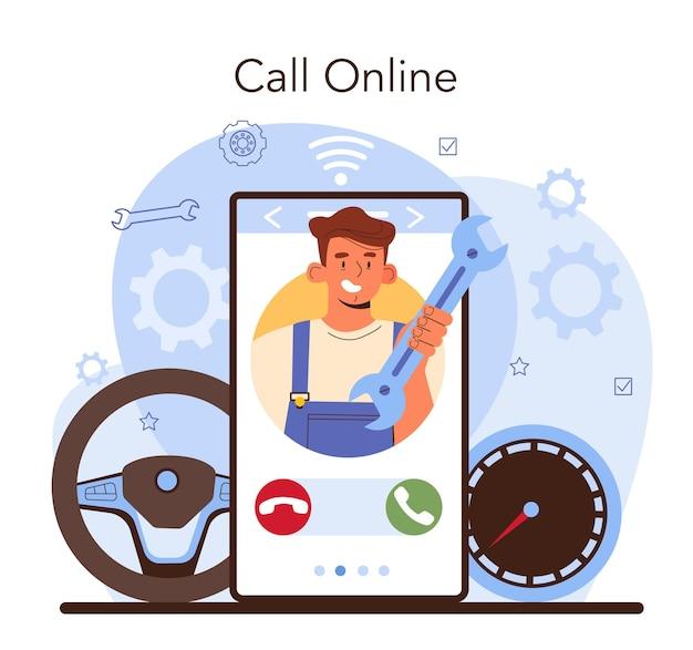 Serviço on-line de serviço de conserto de automóveis ou verificação mecânica de plataforma
