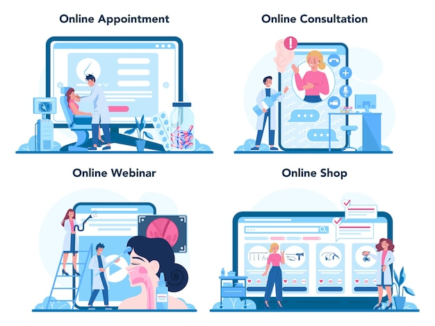 Serviço on-line ou conjunto de plataformas de otorrinolaringologista.