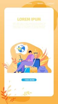 Serviço on-line para banner de web plana vetor viajante