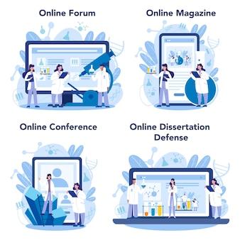 Serviço on-line para cientista químico ou conjunto de plataformas