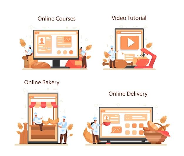 Serviço online baker ou conjunto de plataforma