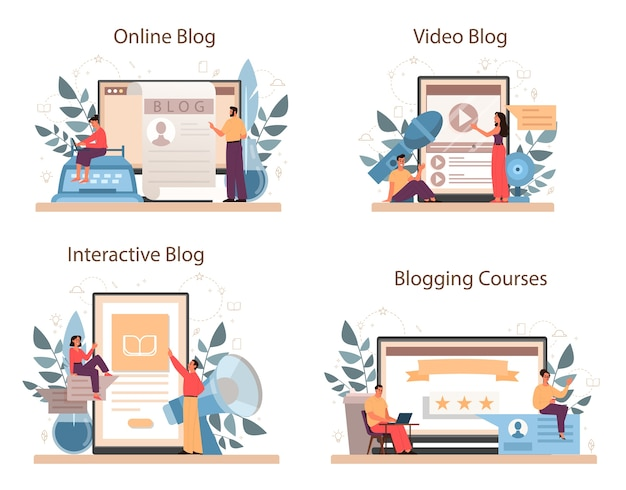 Serviço online blogger ou conjunto de plataformas