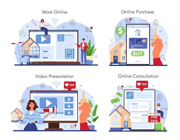 Serviço online da indústria imobiliária ou assistência ao corretor de imóveis de conjunto de plataforma