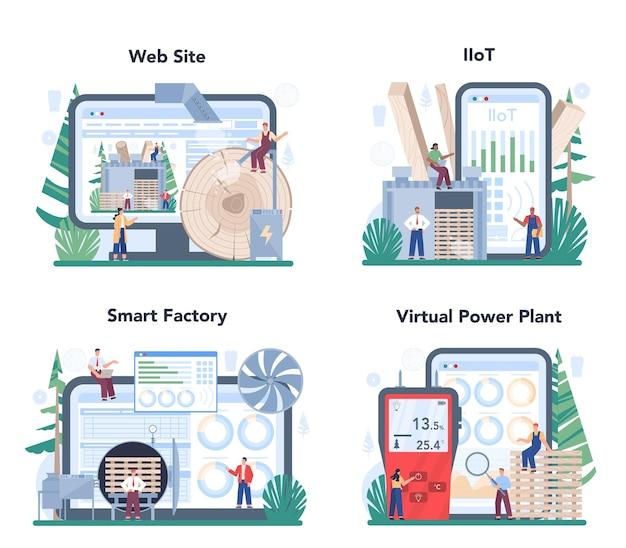 Serviço online da indústria madeireira ou conjunto de plataformas