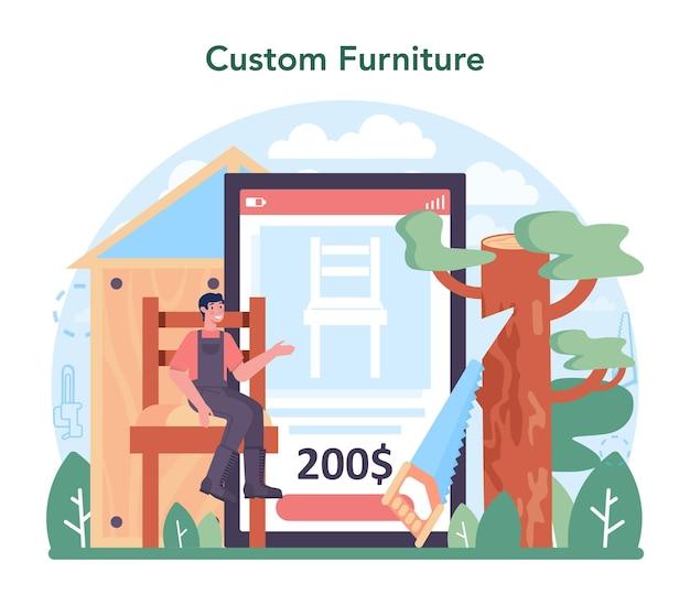 Serviço online da indústria madeireira ou processo de extração de madeira e plataforma de madeira