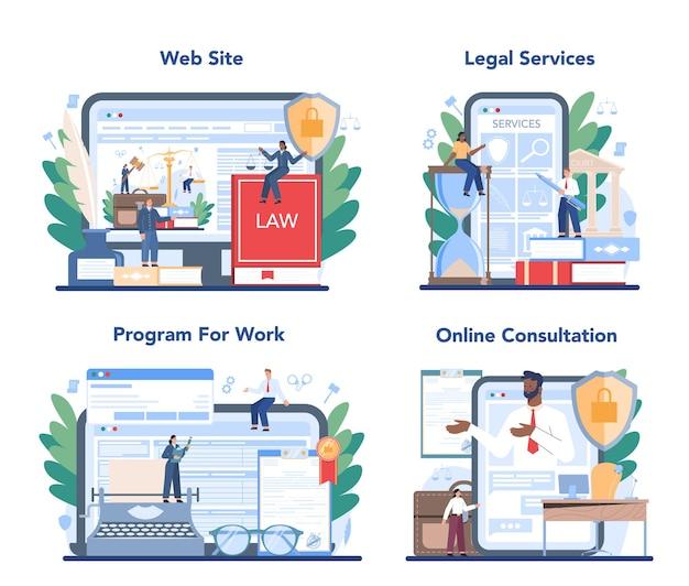 Serviço online de advogado ou conjunto de plataformas. idéia de punição e julgamento. liquidação da criação de documentos. conselheiro ou consultor jurídico. consulta online, site, programa.