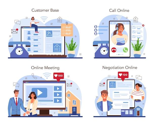 Serviço online de agência imobiliária ou compra de propriedade de conjunto de plataforma