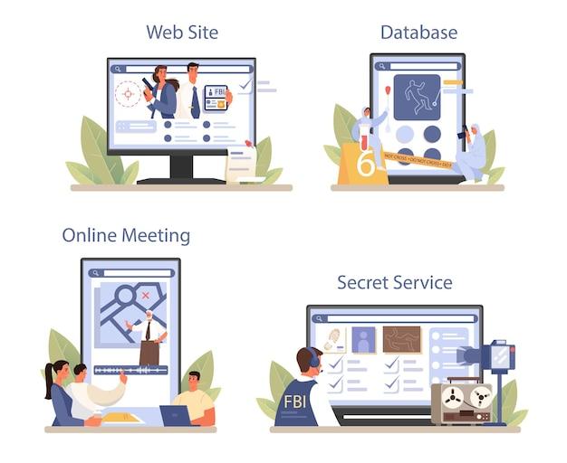 Serviço online de agente do fbi ou conjunto de plataforma