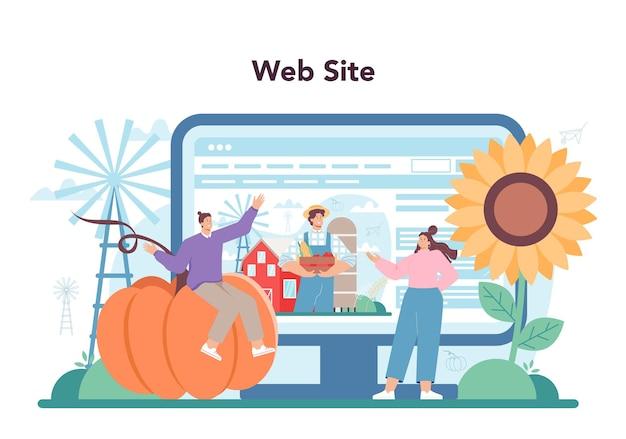 Serviço online de agricultor ou planta de cultivo de trabalhadores agrícolas de plataforma