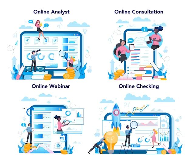 Serviço online de analista de negócios ou plataforma em conjunto de conceito de dispositivo diferente. consulta online e webinar sobre estratégia de negócios e gerenciamento de projetos.