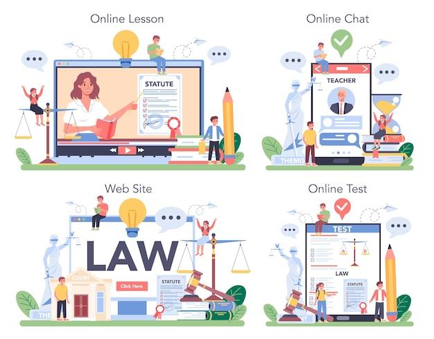 Serviço online de aula de direito ou conjunto de plataforma