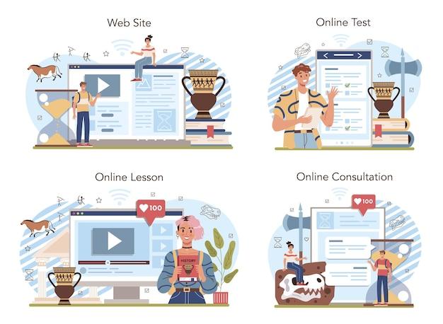 Serviço online de aula de história ou matéria escolar de história de conjunto de plataforma