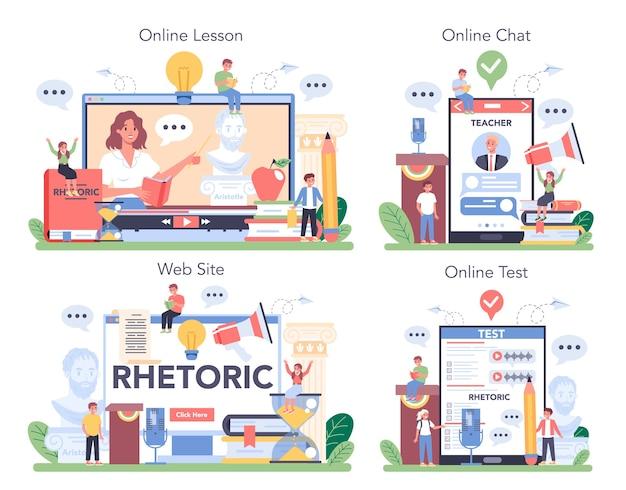 Serviço online de aula de retórica ou conjunto de plataformas