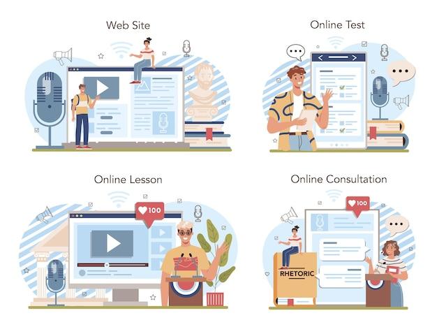 Serviço online de aula de retórica ou plataforma definida para alunos de treinamento público
