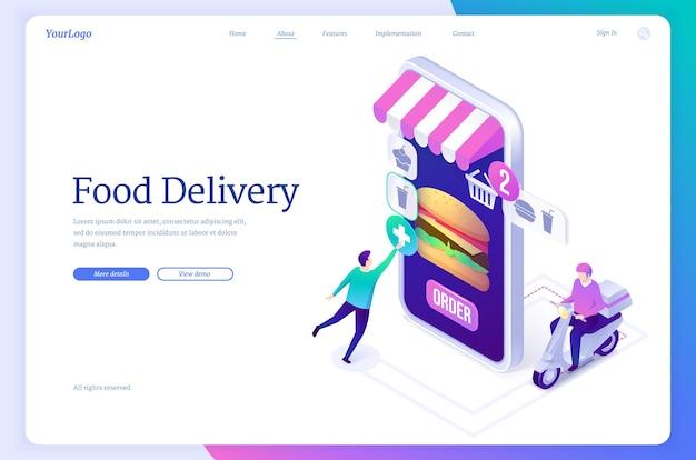 Serviço online de banner de entrega de comida para pedido em restaurante ou loja com transporte rápido de vetor lan ...