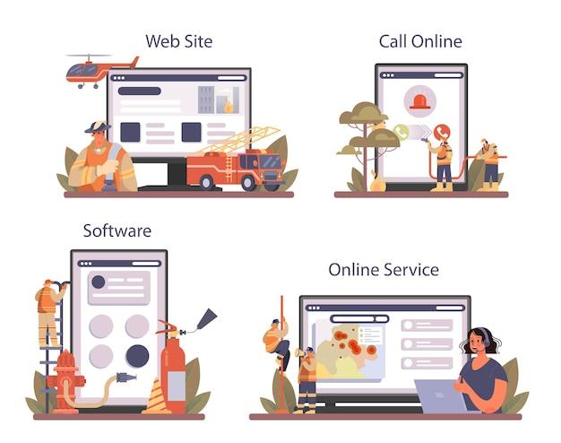 Serviço online de bombeiro ou conjunto de plataforma