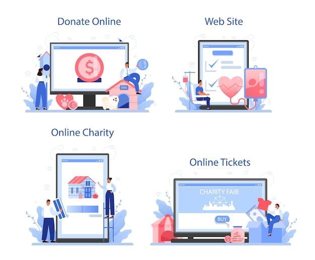 Serviço online de caridade ou conjunto de plataforma
