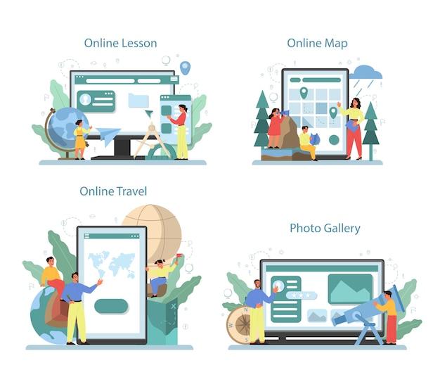 Serviço online de classe de geografia ou conjunto de plataformas. estudar as terras, características, habitantes da terra. aula online, galeria de fotos, mapa online, viagens.
