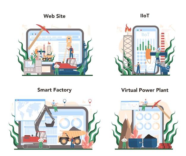 Serviço online de conceito de mineração ou conjunto de plataforma