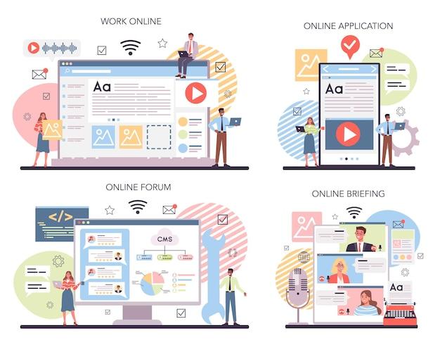 Serviço online de conteúdo de site ou conjunto de plataforma
