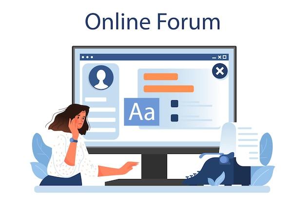Serviço online de crítico literário ou jornalista profissional de plataforma