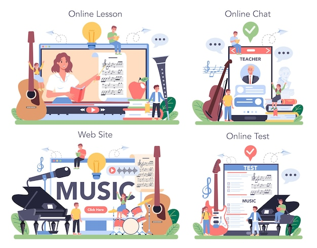 Serviço online de curso de educação musical ou conjunto de plataformas