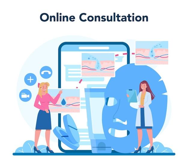 Serviço online de dermatologista ou ilustração de plataforma