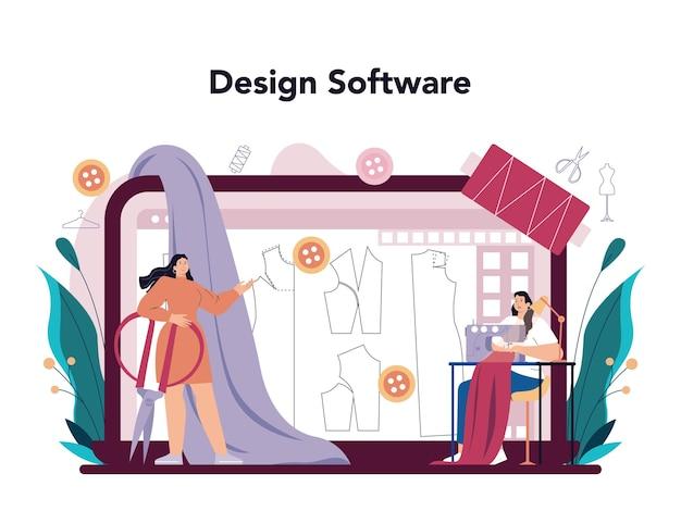 Serviço online de designer de moda ou alfaiate profissional de plataforma