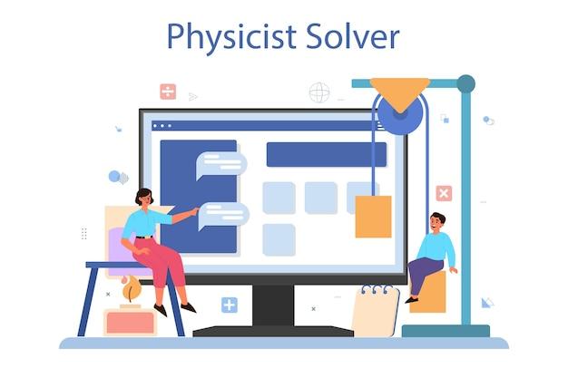 Serviço online de disciplina de física escolar ou conjunto de plataformas