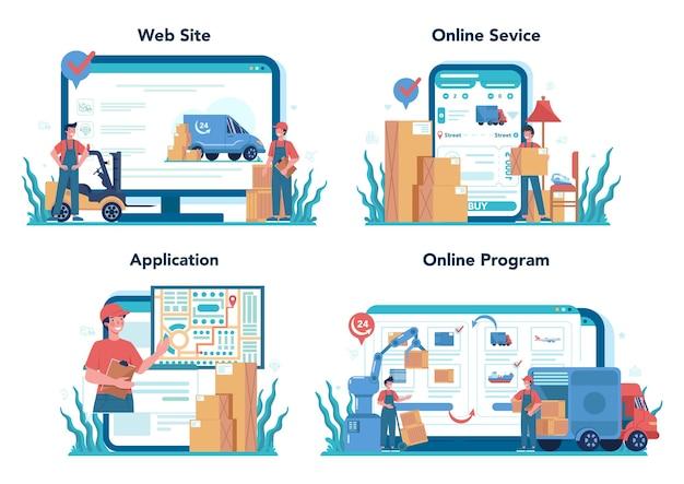 Serviço online de encaminhador ou conjunto de plataforma. carregador uniformizado entregando