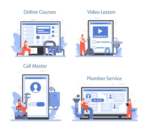 Serviço online de encanador ou conjunto de plataforma