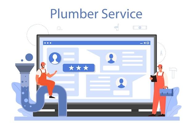 Serviço online de encanador ou ilustração de plataforma.