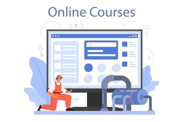 Serviço online de encanador ou ilustração de plataforma