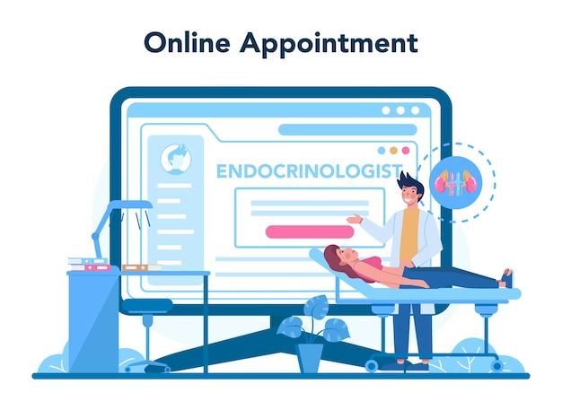 Serviço online de endocrinologista ou ilustração de plataforma Vetor Premium