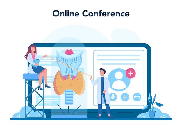 Serviço online de endocrinologista ou ilustração de plataforma